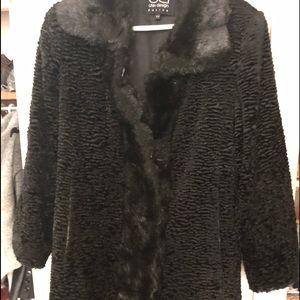 Utex Design black shearling with faux fur trim